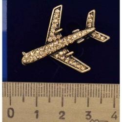 Брошь самолет золотистый М121