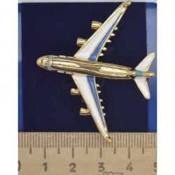 Брошь самолет золотистый эмаль М122