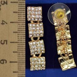 Серьги четыре квадратика золотистые М135