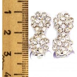 Серьги клипсы цветок двойной серебристые М20