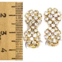 Серьги клипсы цветок двойной золотистые М19