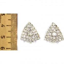 Серьги клипсы треугольник серебристые М21