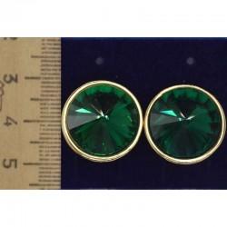 Серьги клипсы круг зеленый М23