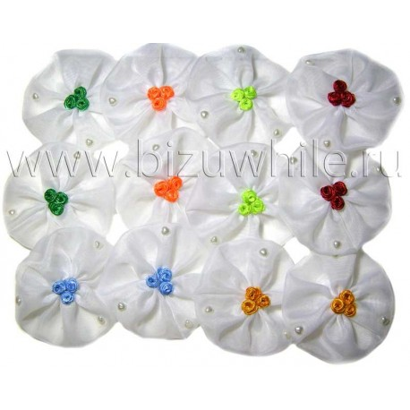 Бантики белые с розочками упаковка 12 шт