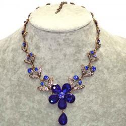 Колье цветок синий М130