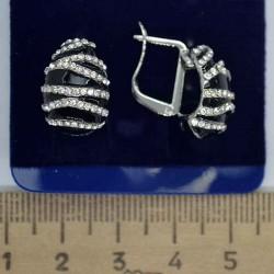 Серьги дорожки эмаль в серебре М150