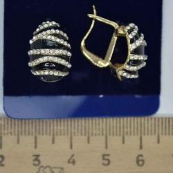 Серьги дорожки эмаль в золоте М151