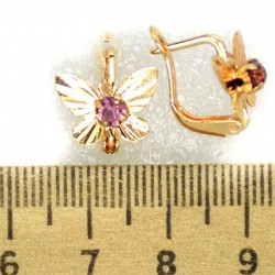 Серьги бабочки фиолетовые М181