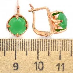 Серьги кристалл зеленый матовый М211