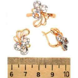 Серьги и кольцо ажур с серебристым М243