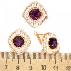 Серьги и кольцо вставка фиолетовая М246