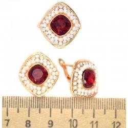 Серьги и кольцо вставка красная М247