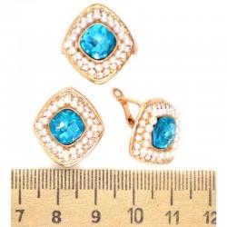 Серьги и кольцо вставка голубая М248