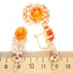 Серьги и кольцо вставка под янтарь М249