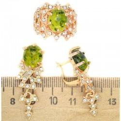 Серьги и кольцо вставка под зеленый янтарь М250